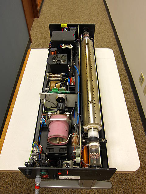 Cover removed.  The heating jacket and tube are on the right, electronics on the left.