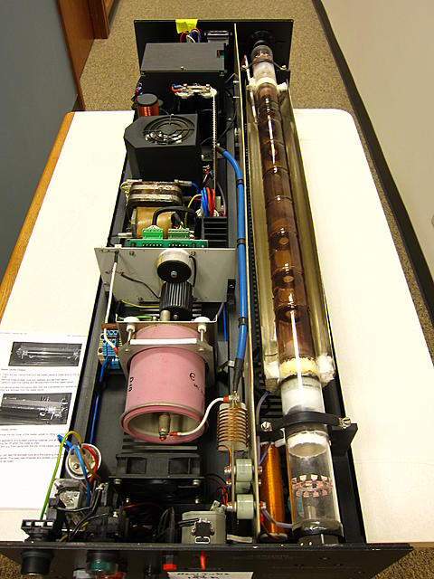 Heating jacket cover removed showing the quartz tube.