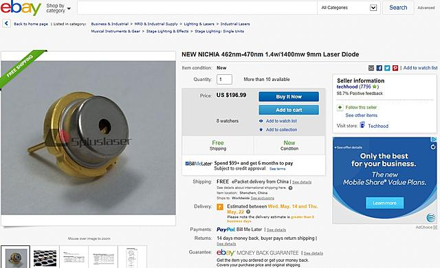 Click image for larger version.  Name:462nm 1.4W Nichia Laser Diode.jpg Views:132 Size:240.9 KB ID:43078
